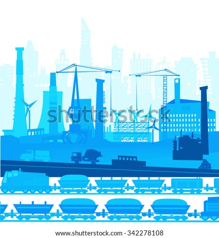 Train running though the city. Heavy industry concept illustration - stock vector