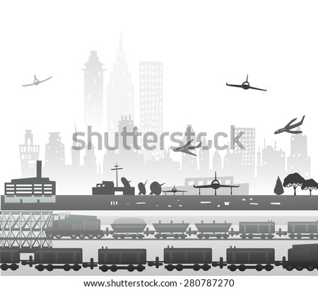 Train running through the city, industrial illustration - stock vector