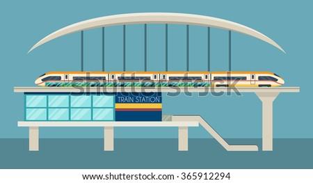 Train station - stock vector