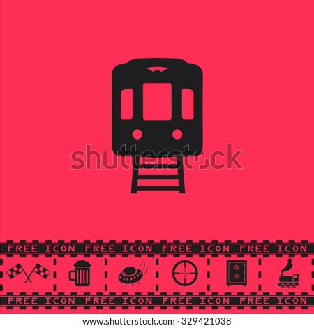 Train subway. Black flat vector icon and bonus symbol - Racing flag, Beer mug, Ufo fly, Sniper sight, Safe, Train on pink background - stock vector
