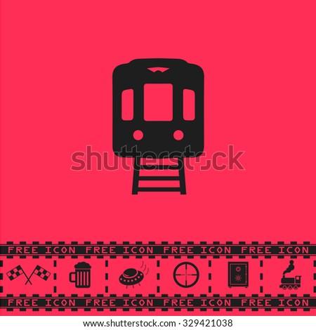Train subway. Black flat vector icon and bonus symbol - Racing flag, Beer mug, Ufo fly, Sniper sight, Safe, Train on pink background - stock vector