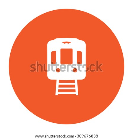 Train subway. Flat white symbol in the orange circle. Vector illustration icon - stock vector