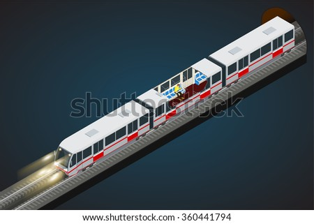 Train, Subway. Transport. Vehicles designed to carry large numbers of passengers.  Flat 3d vector isometric illustration of a subway train. Interior view of a subway car. - stock vector
