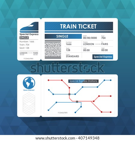Train Ticket Card, Element Design with Blue Color. Vector illustration. - stock vector