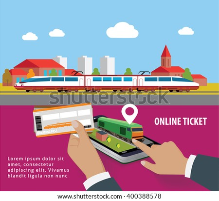 Train tickets app on smartphone screen. Train tickets service. online booking from smartphone - stock vector