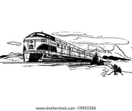 Train Travel - Retro Clip Art - stock vector