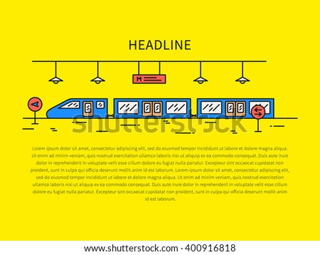 Train (underground railway) station color vector illustration. Subway (underground railway) station (train, public, tube, railroad, platform) creative graphic concept. City train outline concept. - stock vector