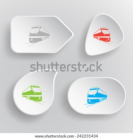 Train. White flat vector buttons on gray background. - stock vector