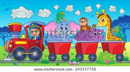 Train with animals in landscape - eps10 vector illustration. - stock vector