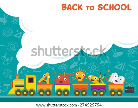 Train with Education Characters Back to School, Kindergarten, Preschool, Kids, Education, Learning and Study Concept - stock vector