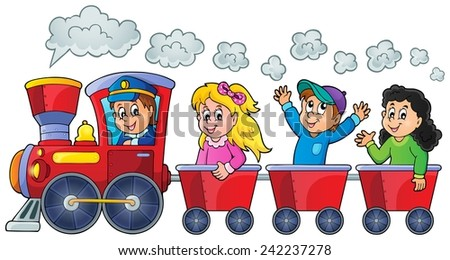 Train with happy kids - eps10 vector illustration. - stock vector