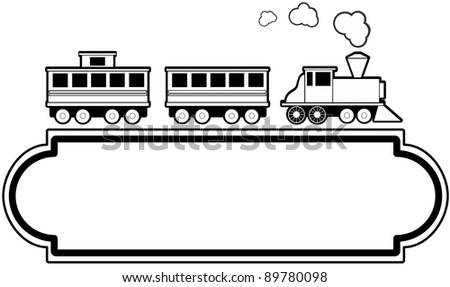 Train with marquee style sign.  Ideal for travel agency or transportation related business. - stock vector