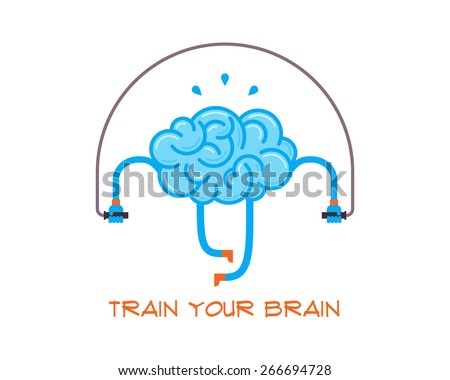 Train your brain. Creative concept, vector illustration. - stock vector
