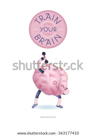 Train your brain poster - a cartoon vector illustration of a training brains activity with lettering Train Your Brain, dumbbells exercises. Part of Brain collection. - stock vector