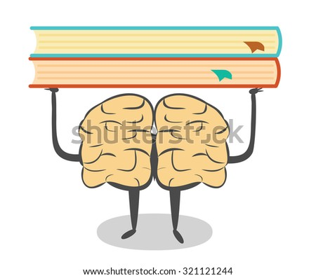 Train your brain, read more. Learning conceptual illustration - stock vector