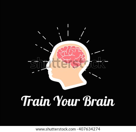 Train Your Brain. Vector Illustration - stock vector