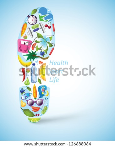 Trainer footprint, built of recreational, sportive, healthy elements and food. EPS10, highly detailed illustration. - stock vector