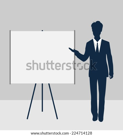 Trainer stand near whiteboard presentation demo and speak project brief - vector - stock vector
