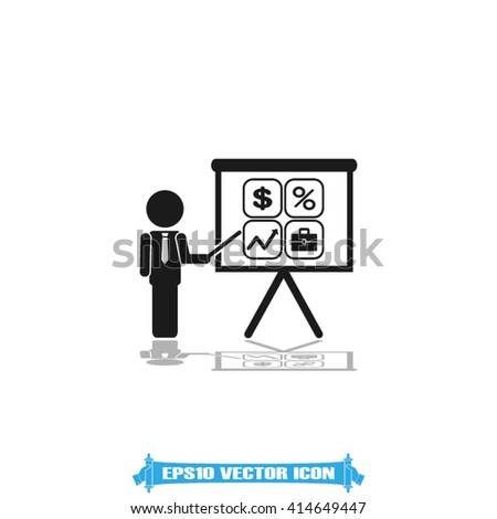 Training and presentation, seminar, learning symbol. The teacher icon. Vector illustration. Presentation manager screen and Icons set: dollar, percent, briefcase, curve