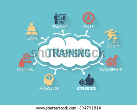 Training - Chart with keywords and icons - Flat Design - stock vector