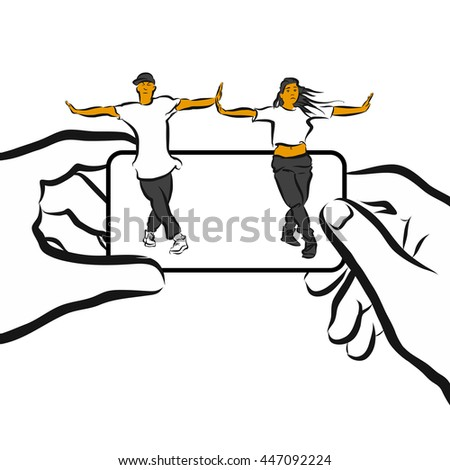 Training Choreography App Concept Design Sketch, Hand drawn Vector Design