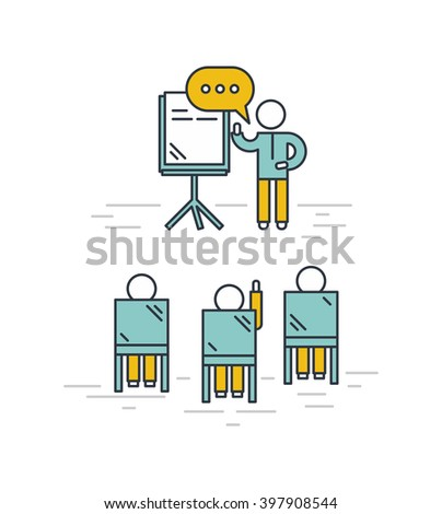 Training classroom vector illustration. Man giving a presentation in classroom. Training seminar concept in outline style. - stock vector