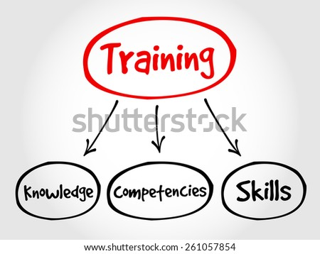 Training components mind map, business concept - stock vector