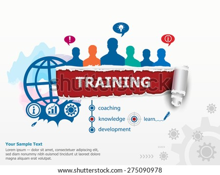 Training concept and group of people. Set of flat design illustration concepts for business, consulting, finance, management, career, human resources.   - stock vector