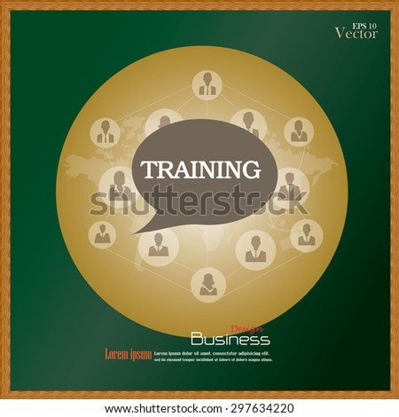 training concept.training word with business man network and world map on chalkboard.vector illustration. - stock vector