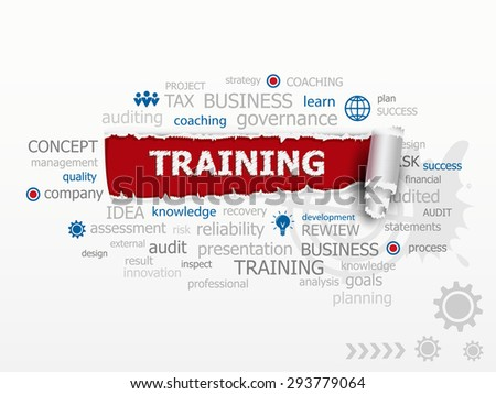 Training concept word cloud. Design illustration concepts for business, consulting, finance, management, career. - stock vector