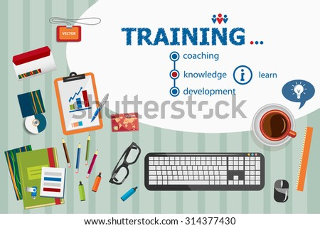 Training design and flat design illustration concepts for business analysis, planning, consulting, team work, project management. Training concepts for web banner and printed materials. - stock vector
