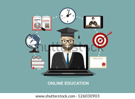 Training, education, online tutorial, e-learning concept. Man out of screen monitor laptop and set icons. Flat vector illustration