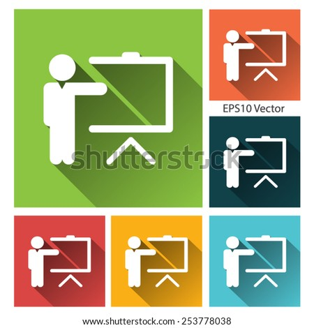 Training icon - long shadow flat training icon set - stock vector