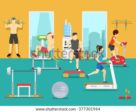 Training people in gym. Training gym, sport fitness gym, man workout in gym. Vector illustration in flat style - stock vector