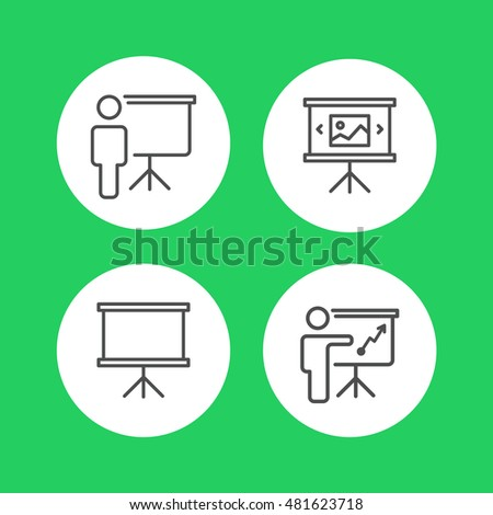 Training, presentation, conference set icons. Vector.