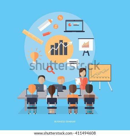 Training staff briefing presentation. Staffing and corporate training, employee seminar, mentor and people, business seminar, meeting group illustration. Woman near board with carts and graphs - stock vector