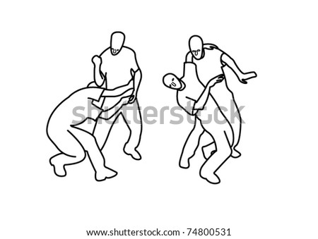 Training two fighters - stock vector