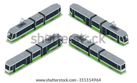 Tram Icon, Tram Modern, Tram transport, Tram Vector, Tram isometric, Tram 3d, Tram city transport, Tram isolated, Tram illustration, Tram Flat, Tram icon, Tram icon art, Tram icon best, Tram icon sign - stock vector
