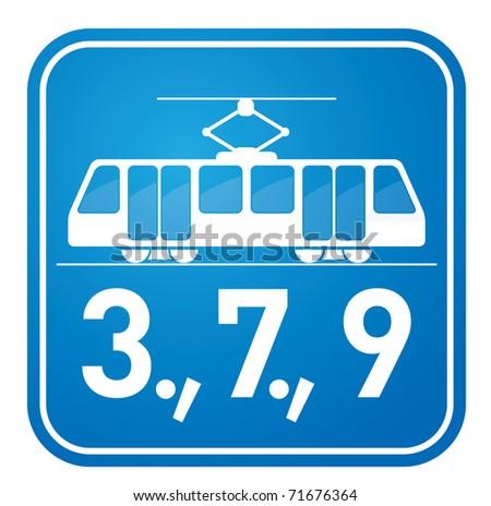 Tram sign - stock vector