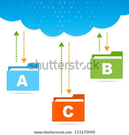 transfer files cloud concept isolated on white background - stock vector