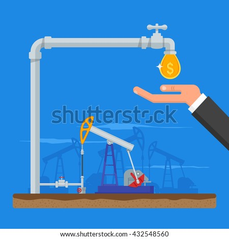 Transform oil to money concept. Get cash from oil pipe. Black gold. Oil pumps. Vector illustration in flat style. Oil and gas industry. - stock vector