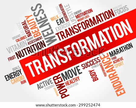 TRANSFORMATION word cloud, fitness, sport, health concept - stock vector