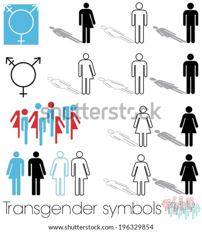 transgender icons and symbols featuring the reflection of the gender the person feels they are - stock vector