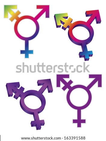 Transgender Symbols Isolated on White Background Vector Illustration - stock vector