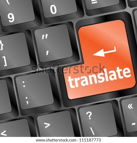 Translate button on keyboard - vector business concept