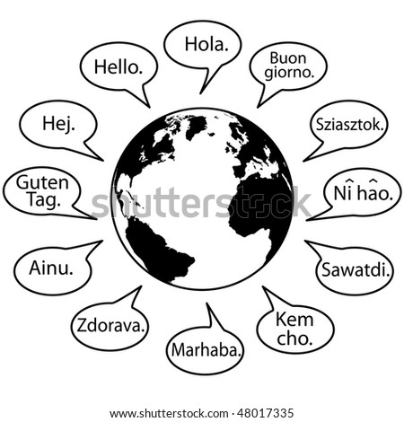 Translate Earth Languages say Hello World in speech bubbles. - stock vector