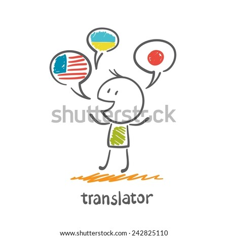 translator speaks different languages illustration - stock vector