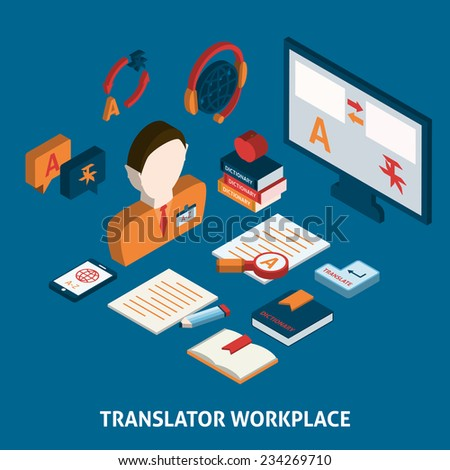 Translator workplace isometric icons composition with computer dictionaries and mobile electronic devices  poster print isolated vector illustration - stock vector