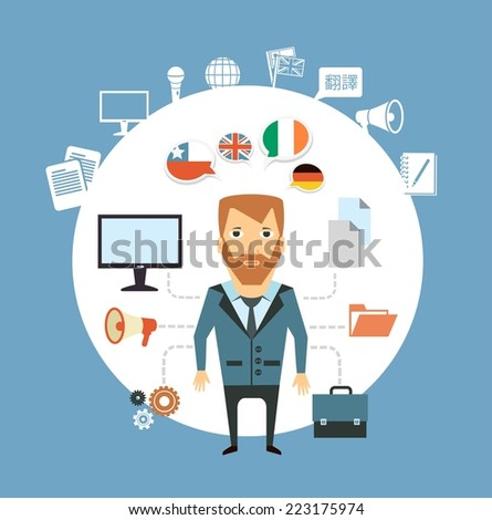 translator works at the computer  illustration - stock vector