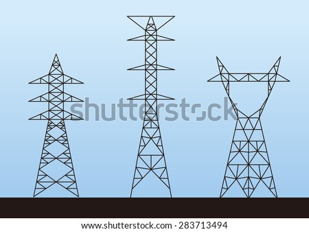 Transmission tower (electricity pylon) illustration - stock vector